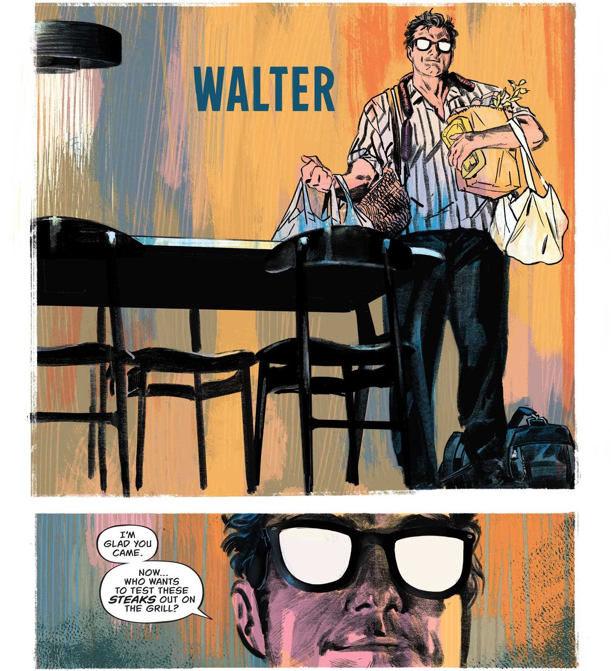 """Walter sets groceries down on a table, saying """"I'm glad you came. Now... who wants to test these steaks out on the grill?"""" His glasses reflect the light ominously like an anime villain in The Nice House on the Lake #1, DC Comics (2021)."""