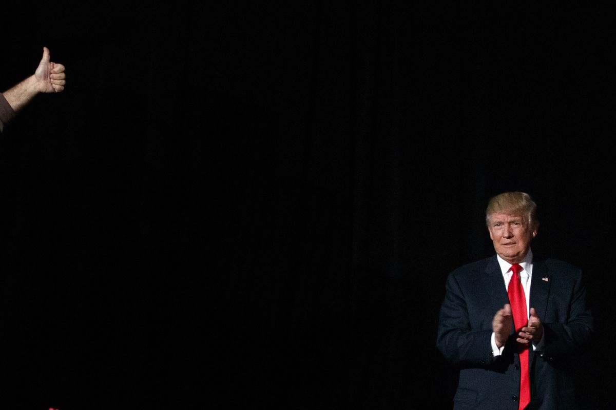 Republican presidential candidate Donald Trump arrives to speak to a campaign rally, Monday, Oct. 31, 2016, in Warren, Mich.