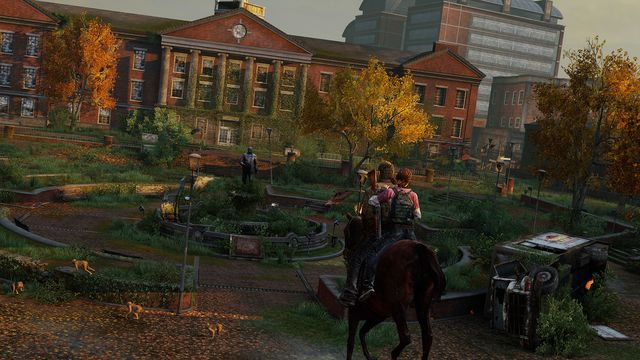 Joel and Ellie at the University of Eastern Colorado in autumn in <em>The Last of Us Remastered</em>.