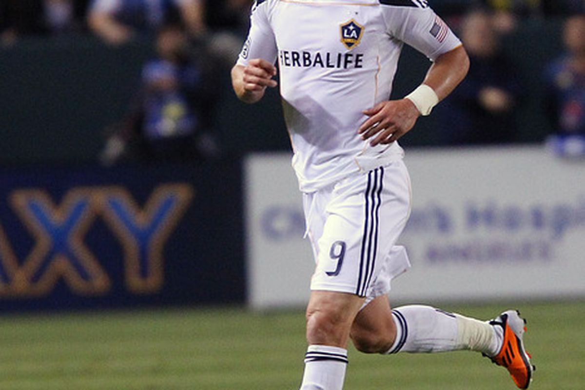 CARSON, CA - APRIL 02:  Juan Pablo Angel #9 of the Los Angeles Galaxy controls the ball during the Philadelphia Union v Los Angeles Galaxy Match at The Home Depot Center on April 2, 2011 in Carson, California.  (Photo by Joe Scarnici/Getty Images)