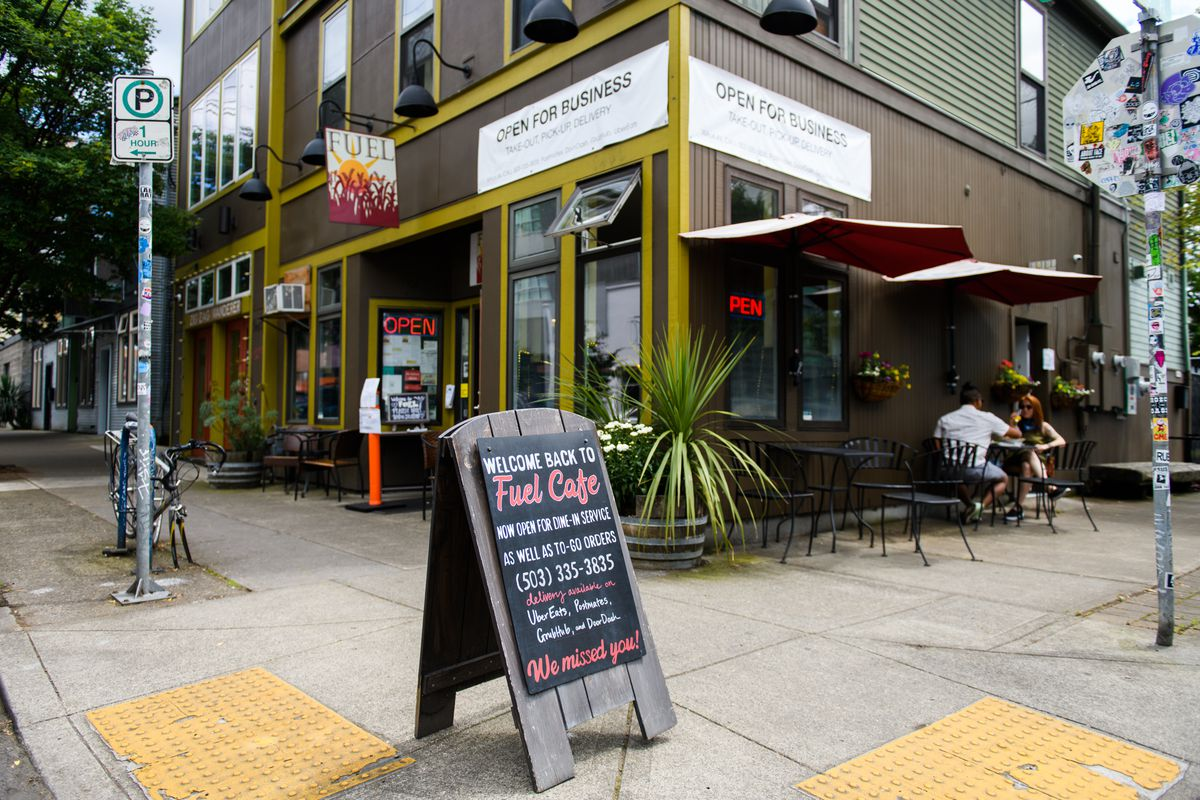 Fuel Cafe is seating customers outside and inside the restaurant on their first weekend open in three months, due to COVID-19.