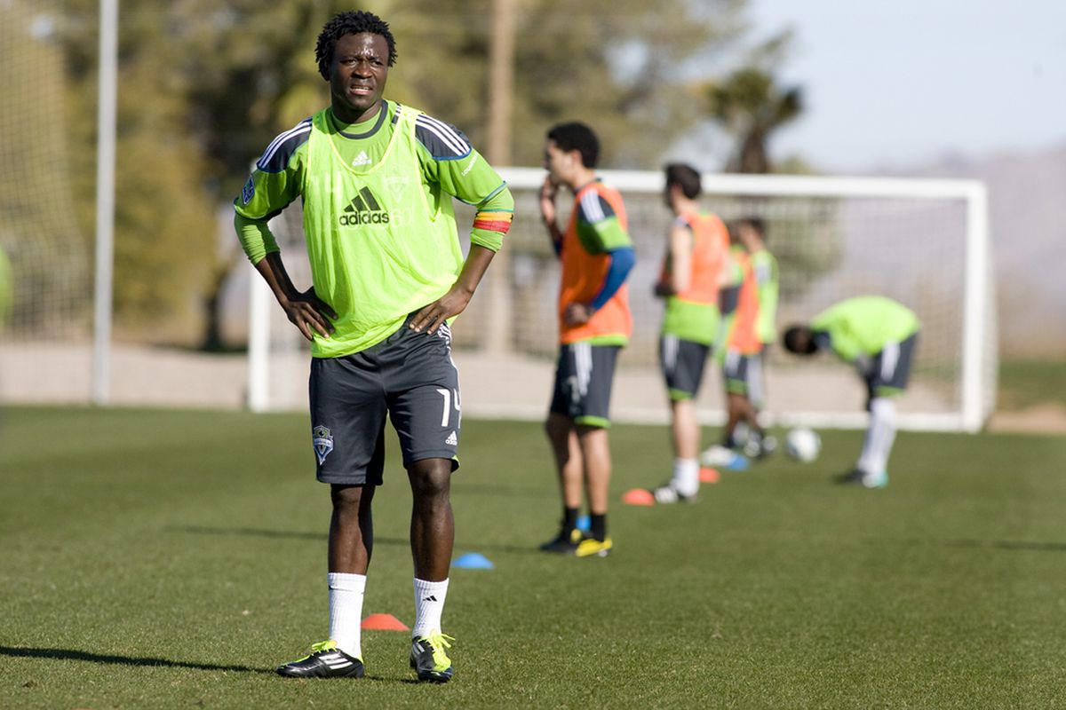 Seattle Sounders FC player Michael Tetteh catches his breathe during a training session on February 1, 2011 at Grande Sports World in Casa Grande, AZ. (Photo via Seattle Sounders FC)