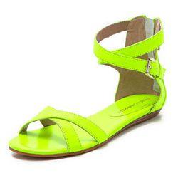 """Rebecca Minkoff <b>Bettina</b> neon flat sandals, $104.99 at <a href=""""http://www.6pm.com/rebecca-minkoff-bettina-neon-yellow"""">6pm</a>"""