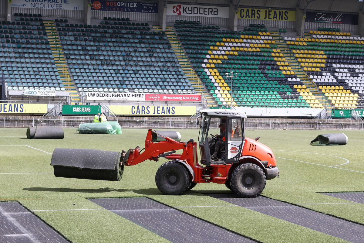 Artificial Grass Is Taken Out Of Cars Jeans Stadion The Home Of ADO Den Haag