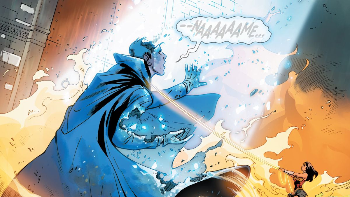 Bound by Wonder Woman's lasso of truth, the Phantom Stranger, Judas Iscariot, dissolves before the judgement of the Presence in Wonder Woman #758, DC Comics (2020).