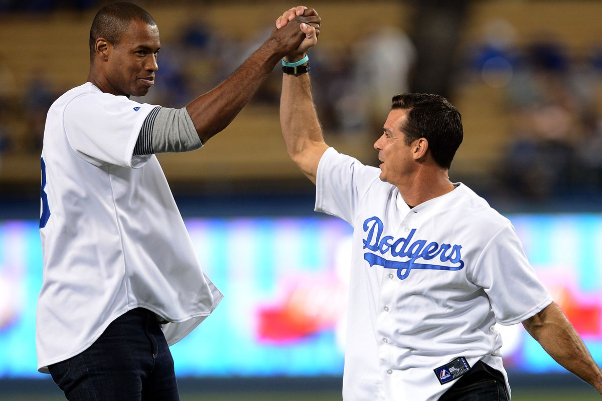 Jason Collins and Billy Bean threw out the opening pitch of a Dodgers game this autumn
