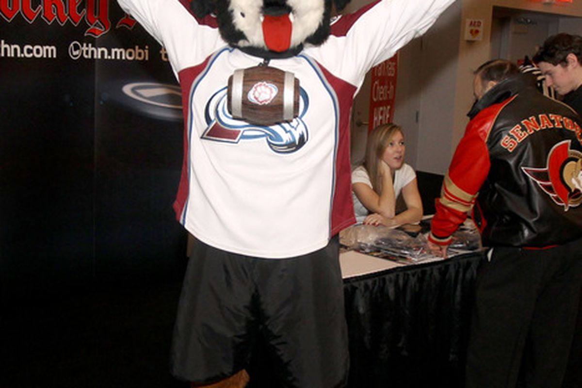 OTTAWA, ON - JANUARY 27:  Bernie, the mascot of the Colorado Avalanche poses during the NHL Fan Fair at the Ottawa Convention Centre on January 27, 2012 in Ottawa, Ontario, Canada.  (Photo by Christian Petersen/Getty Images)