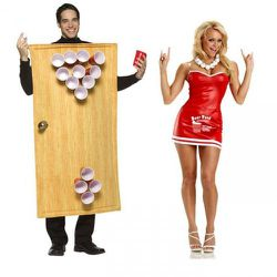 Beer pong! She is dressed as a skimpy beer can and he is a table. Actually, he is a door functioning as a table. Nice attention to detail, Ricky's.