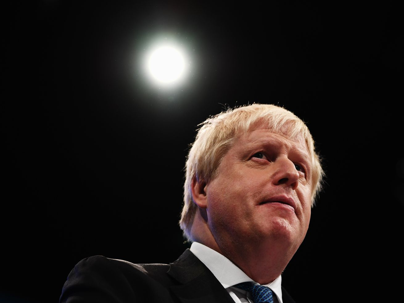 Then-Foreign Secretary Boris Johnson delivers his keynote speech on day three of the annual Conservative Party conference on October 3, 2017, in Manchester, England.