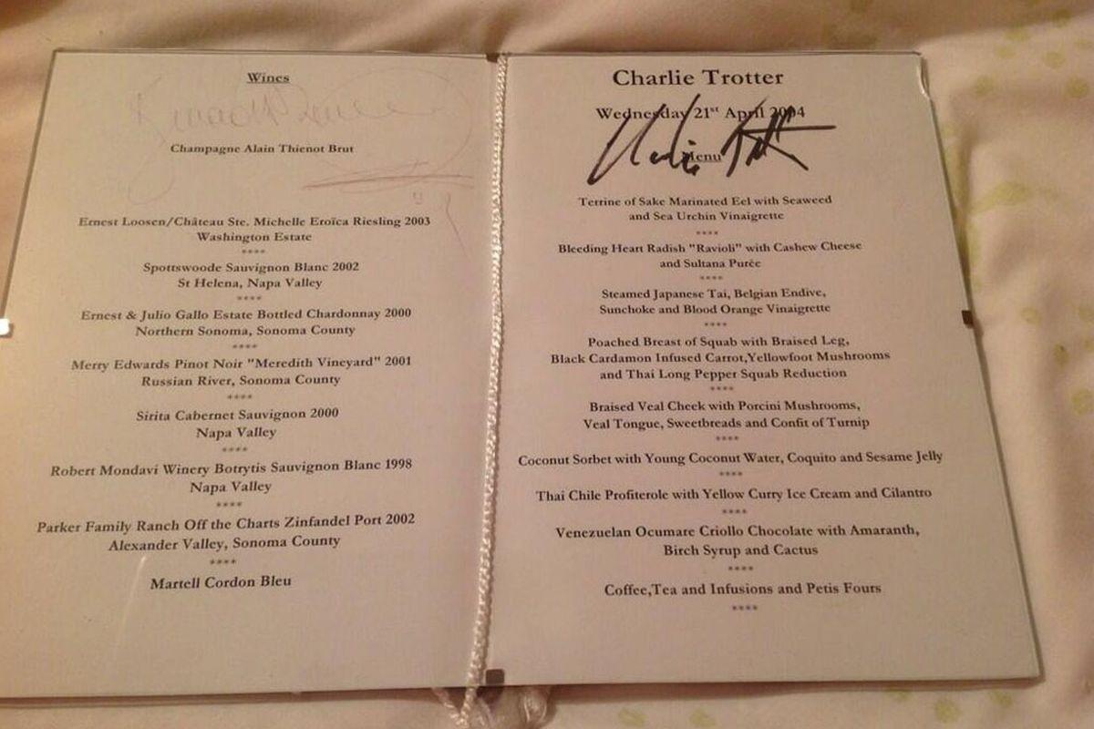 A 2004 menu.