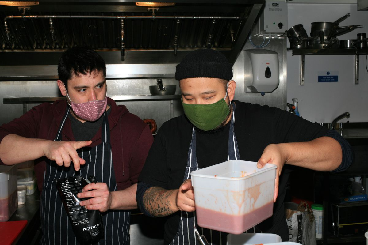 Chef-owner of Sarap BAon in Brixton, Budgie Montoya, right