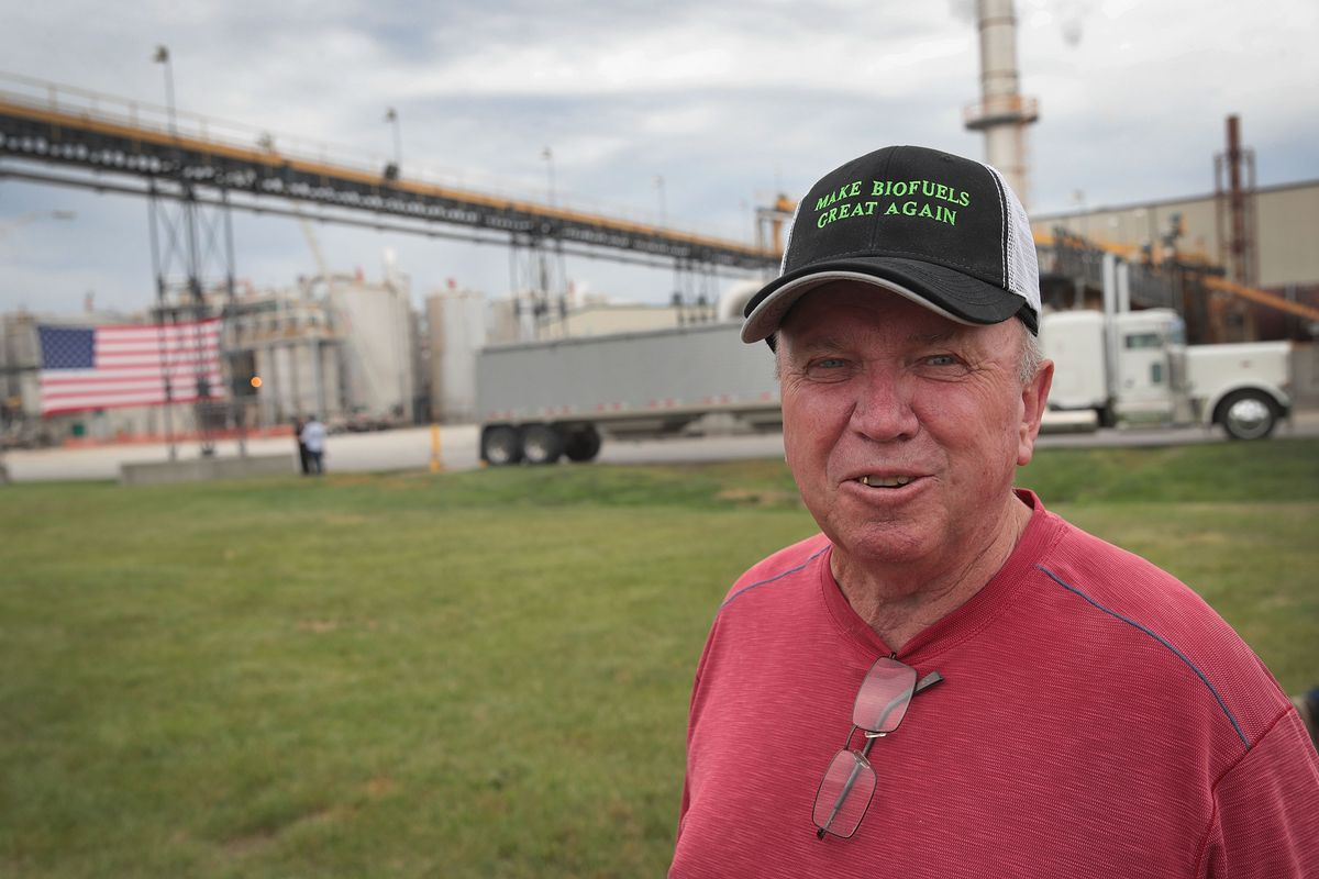 Farmer Bob Geiger arrives for a visit by President Donald Trump at the Southeast Iowa Renewable Energy ethanol facility on June 11, 2019 in Council Bluffs, Iowa.