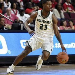 Utah Valley's Brandon Randolph (23) dribbles against Seattle during the second half of an NCAA college basketball game in the first round of the Western Athletic Conference tournament Thursday, March 9, 2017, in Las Vegas.