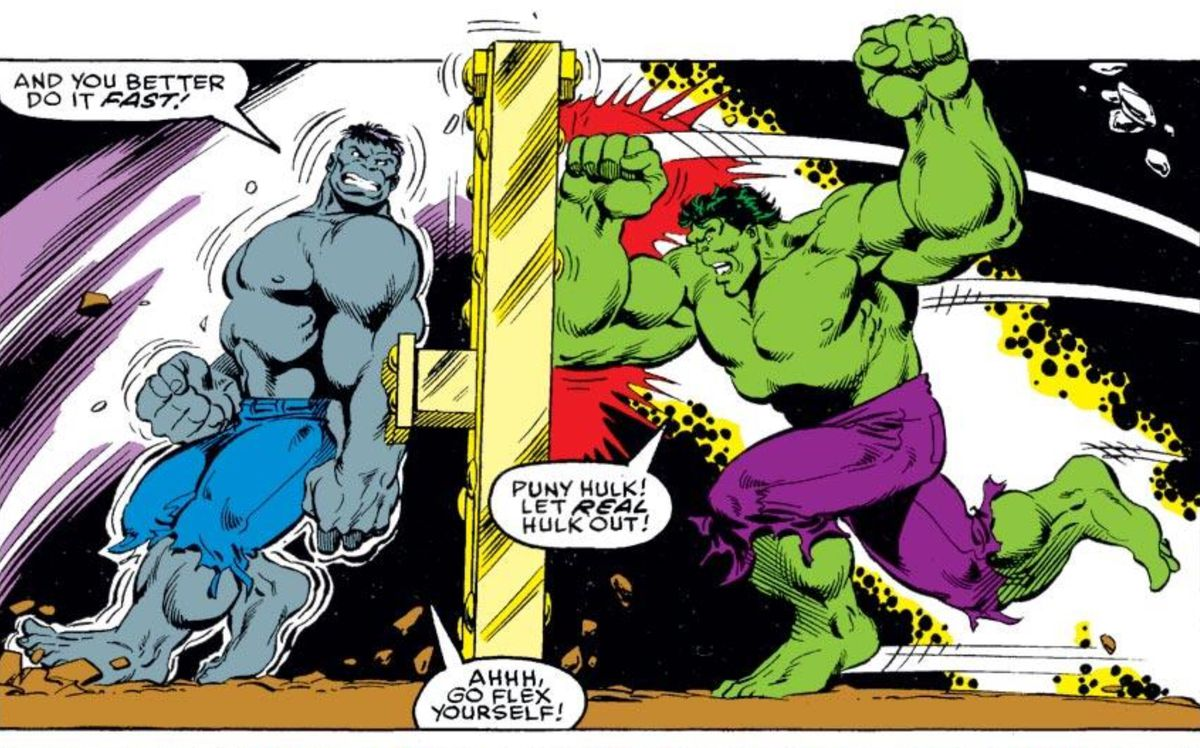 Hulk and Grey Hulk in The Incredible Hulk #375, Marvel Comics (1990).