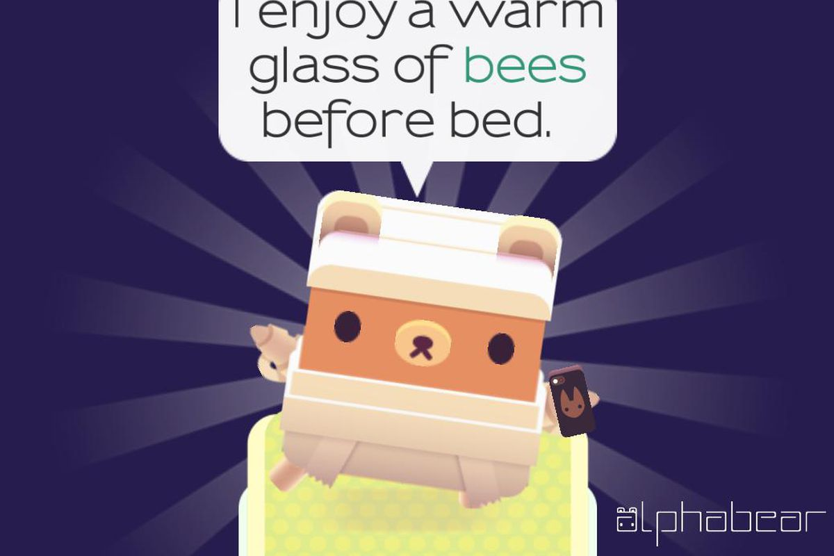 The bears of Alphabear take selfies using words you've played in the game, which results in phrases both weird and wonderful.