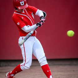 Utah infielder Ryley Ball (9) hist a solo home run in the bottom of the fifth as the University of Utah hosts Brigham Young University at Duke Stadium in Salt Lake City on Wednesday, April 18, 2018.