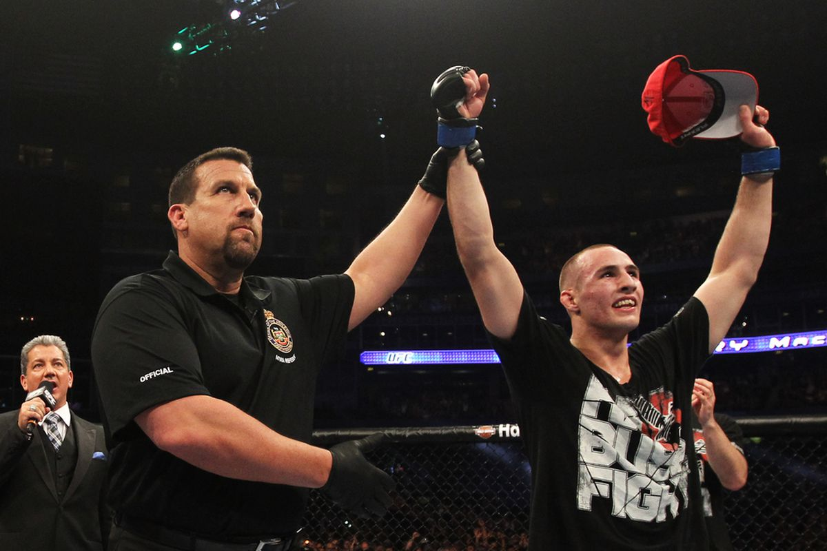 """Rory MacDonald looks to continue his winning ways when he takes on Mike Pyle at UFC 133: """"Evans vs. Ortiz 2"""" this weekend in Philadelphia. Photo by Zuffa LLC via Getty Images."""