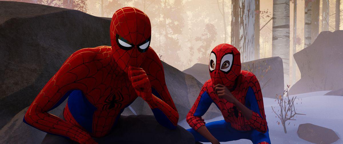 Питър Паркър (Джейк Джонсън) и Майлс Моралес (Шамейк Мур) в Columbia Pictures и Sony Pictures Анимацията на SPIDER-MAN: IN THE THE SPIDER-VERSE.