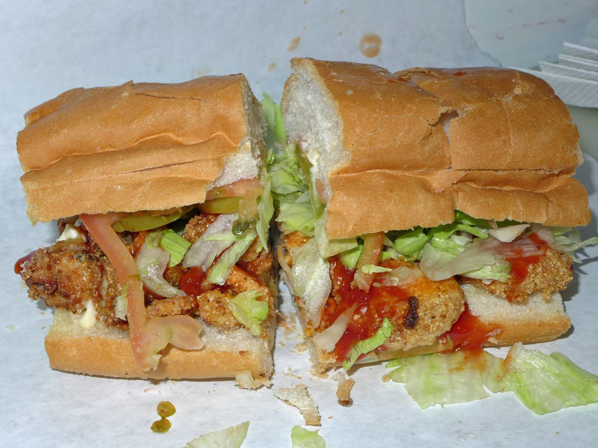 The oyster po' boy at Cheeky Sandwich