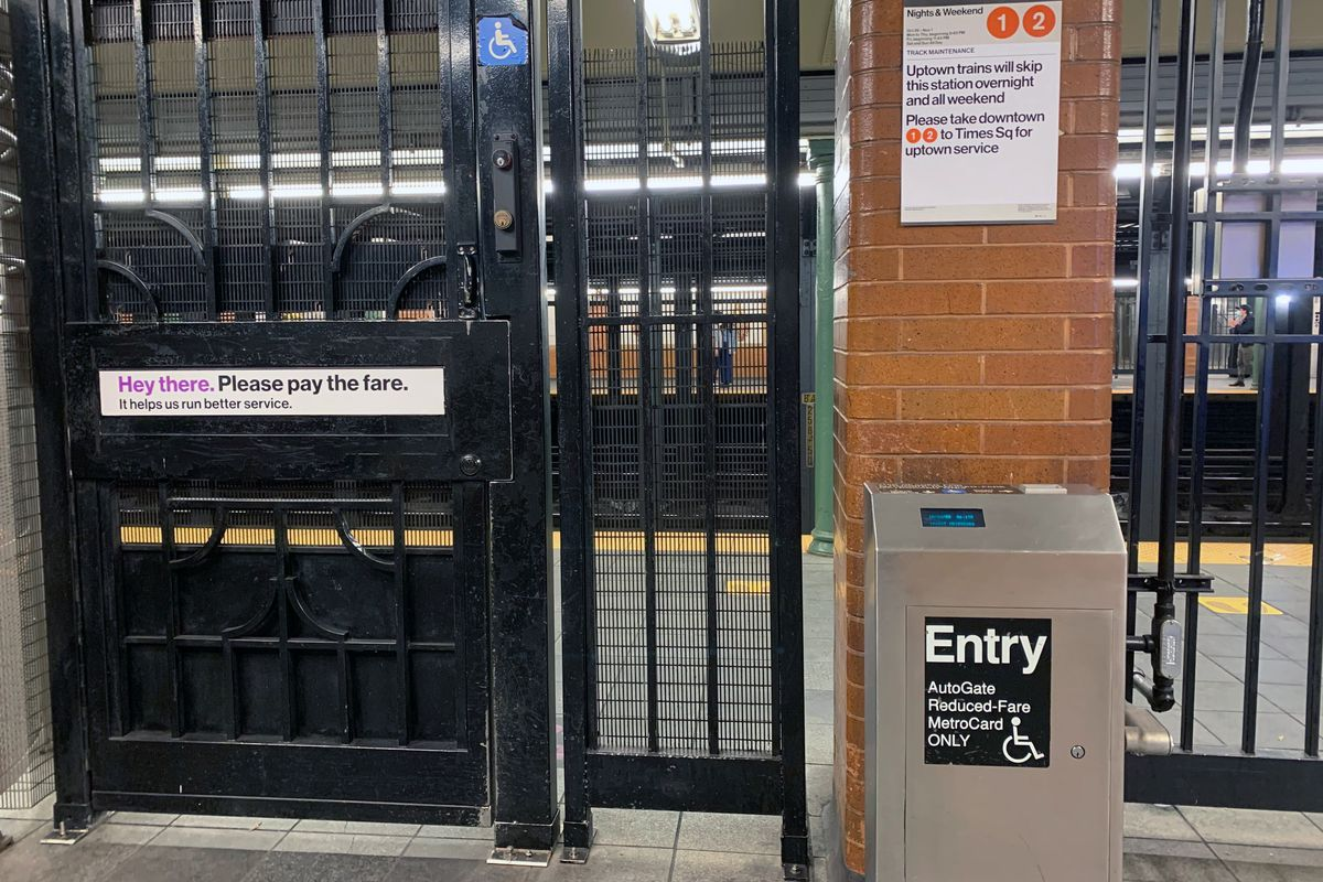 An auto-gate for a reduced-fair MetroCards, Oct. 24, 2020.