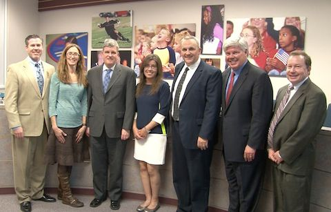 Carrie Mendoza, second from left, is the newest member of the Douglas County school board.