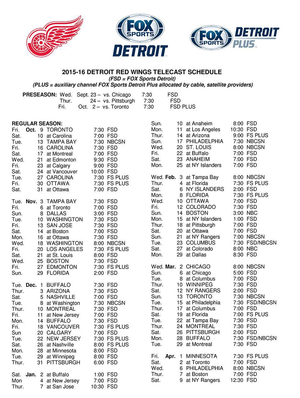 Red Wings Announce 2015-16 TV Schedule - Winging It In Motown