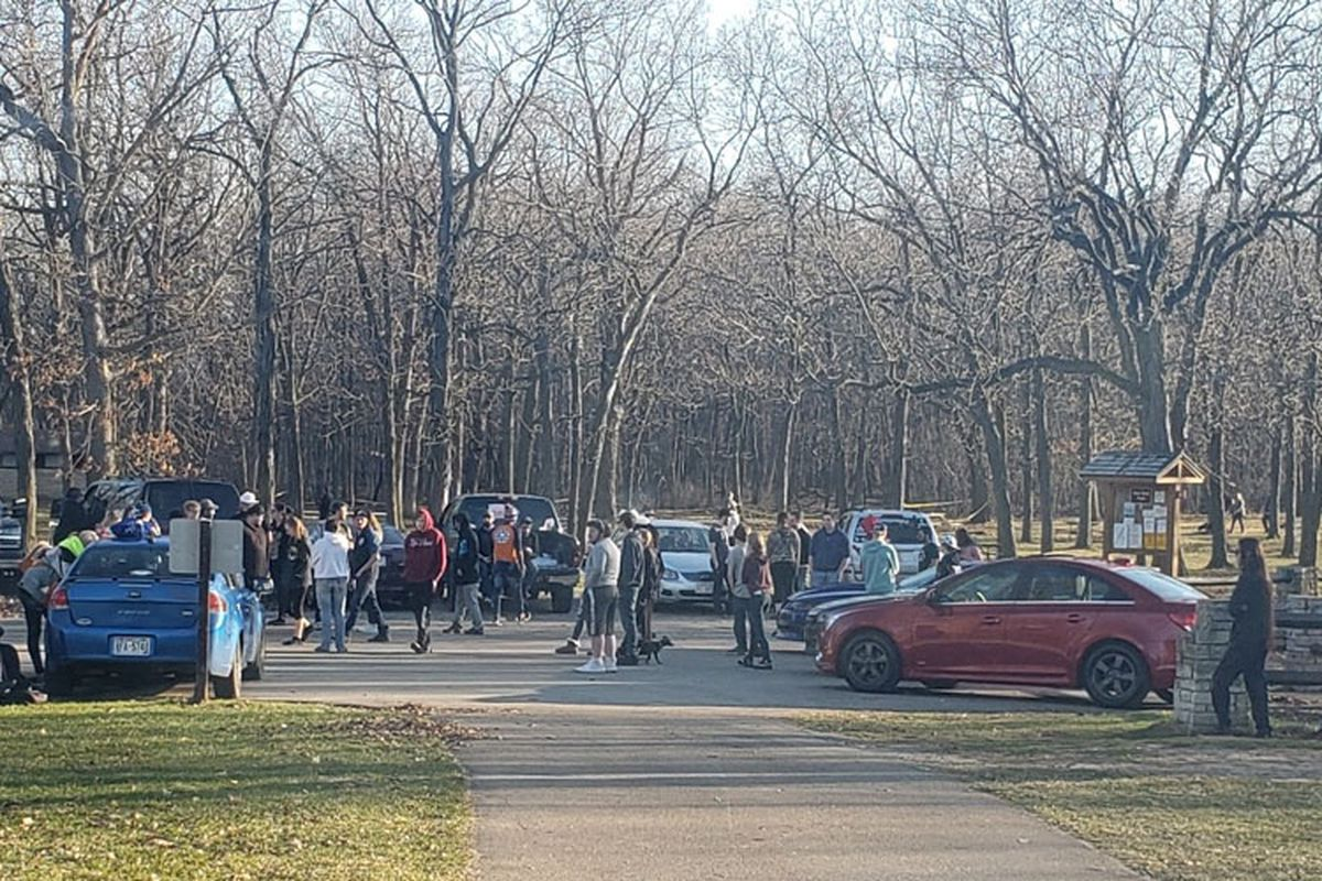 Parking lot at High Cliff State Park. Due to unprecedented crowds Gov. Evers directed the DNR to close several state properties.  Credit: Wisconsin DNR