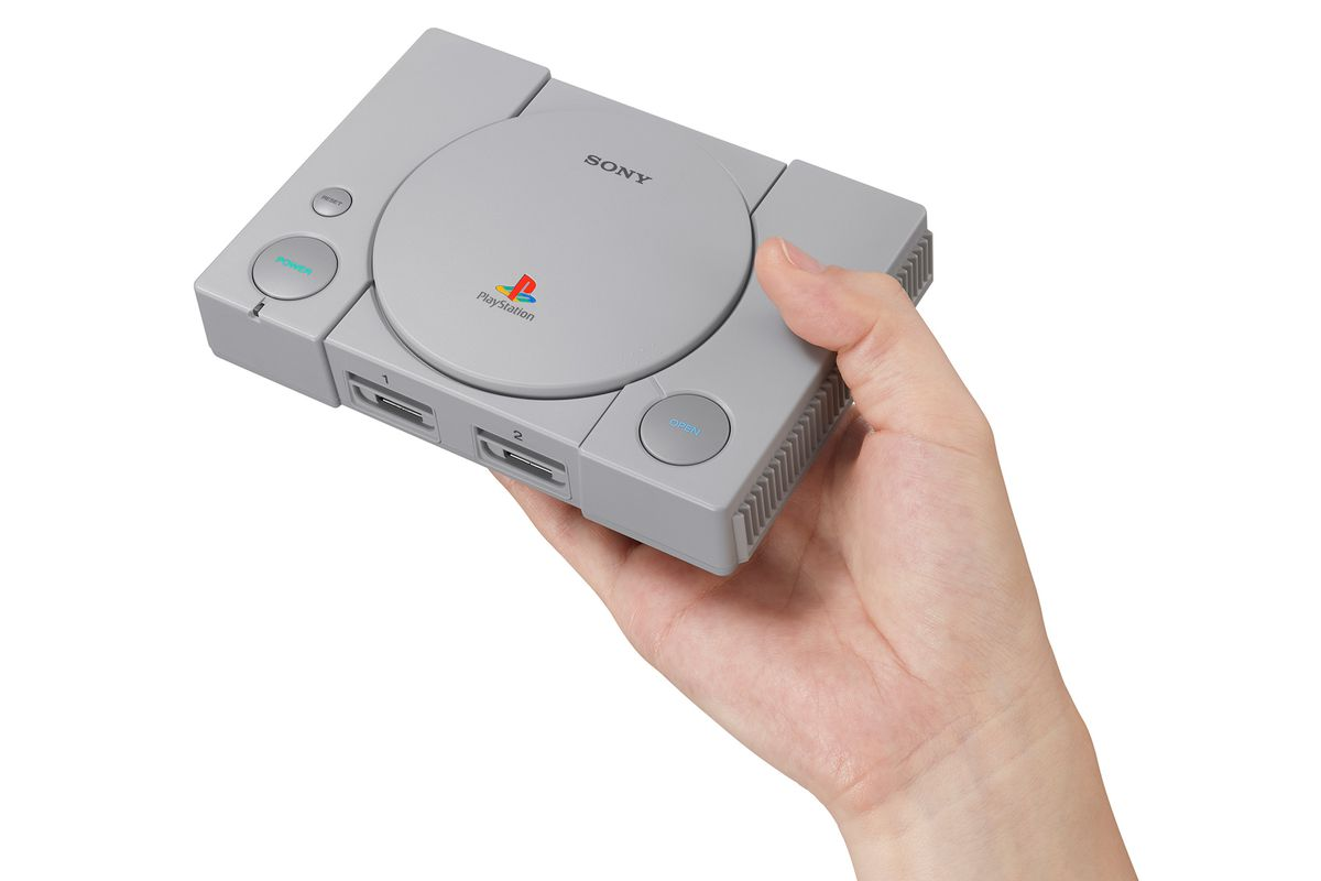 PlayStation Classic - console held in hand