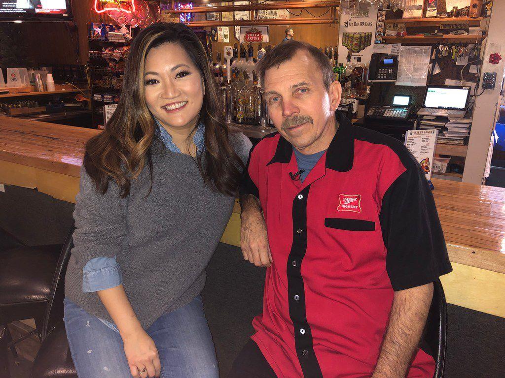 Ji Suk Yi and Timber Lanes owner Bob Kuhn. | Brian Rich for the Sun-Times