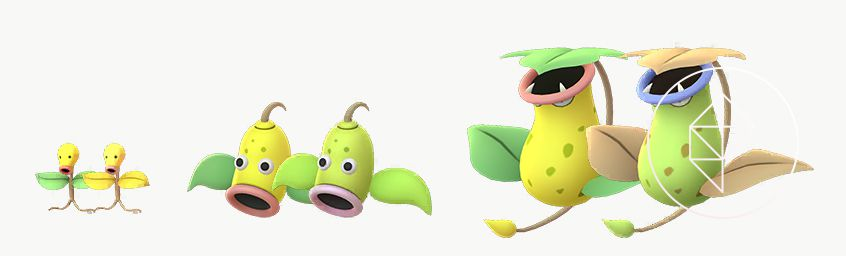 A comparison between Shiny Bellsprout's evolution line and it's regular form. The Shinies are more yellow, blue, and green-tinted.