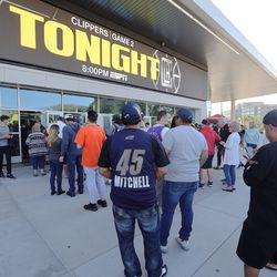 Fans enter Vivint Arena before Game 2 of the Western Conference semifinals between the Utah Jazz and the LA Clippers in Salt Lake City on Thursday, June 10, 2021.
