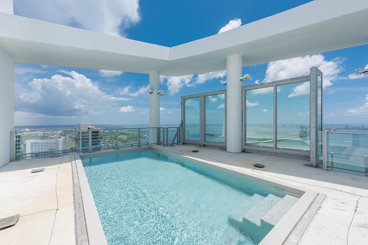 The rooftop pool at a penthouse in Biscayne Beach in Edgewater