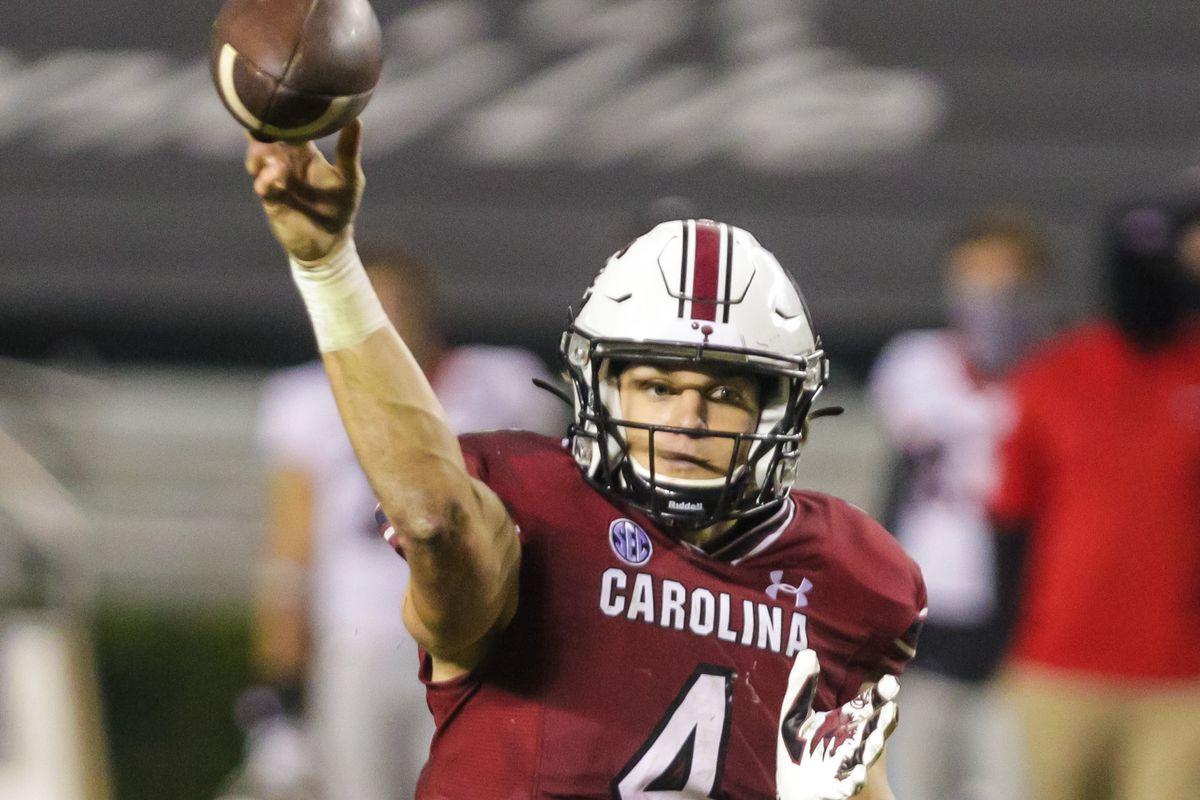 South Carolina Gamecocks quarterback Luke Doty passes against the Georgia Bulldogs during the fourth quarter at Williams-Brice Stadium.