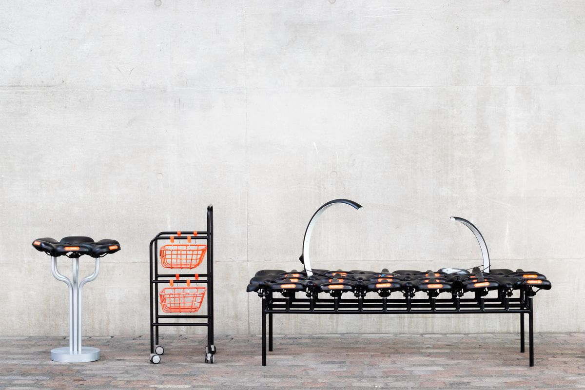 Array of furniture made from bike parts