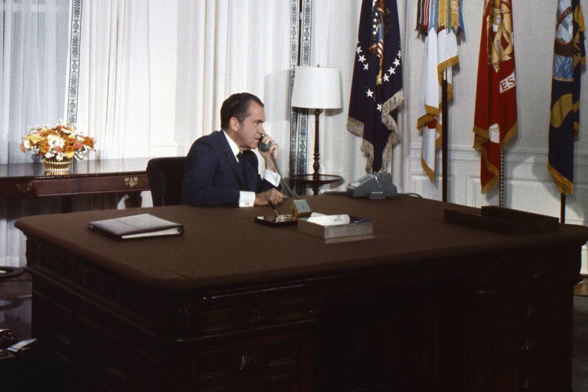 Richard Nixon calls the moon and makes it feel uncomfortable.
