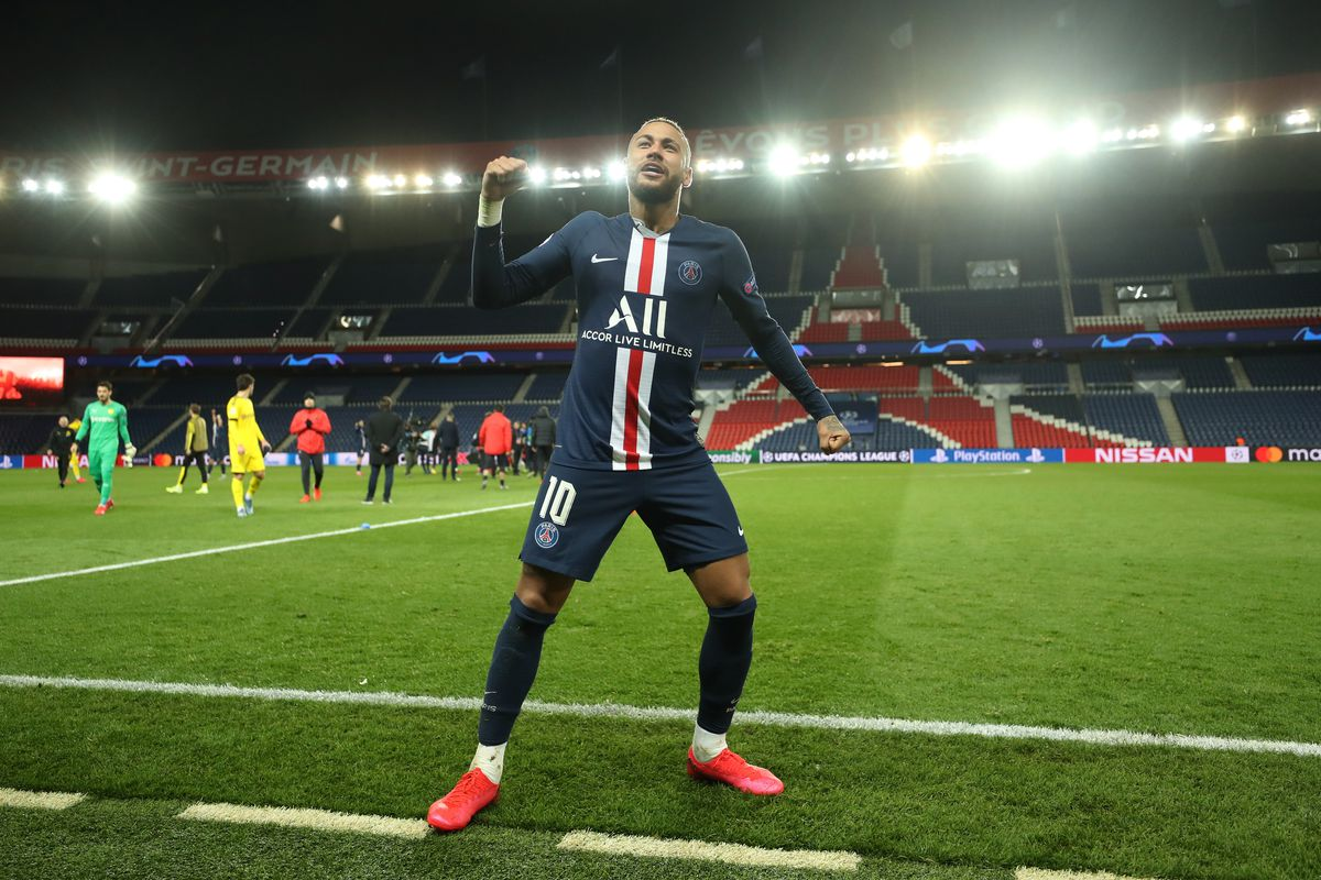 Neymar of Paris Saint-Germain celebrates victory after the UEFA Champions League round of 16 second leg match between Paris Saint-Germain and Borussia Dortmund at Parc des Princes on March 11, 2020 in Paris, France. The match is played behind closed doors as a precaution against the spread of COVID-19 (Coronavirus).