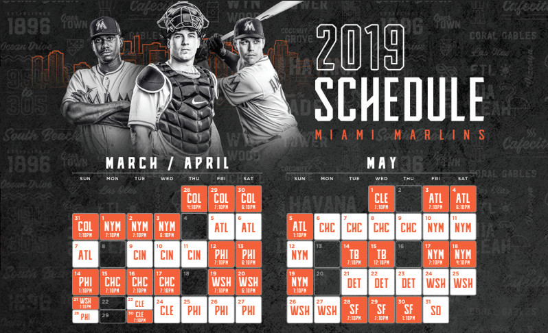 Florida Marlins Schedule 2019 NEW: Marlins announce 2019 regular season schedule   Fish Stripes