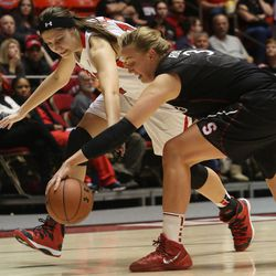 Utah's Emily Potter, left, and Stanford's Mikaela Ruef (3) compete for a loose ball during the second half of an NCAA college basketball game Friday, Jan. 10, 2014, in Salt Lake City. Stanford won 87-61. (AP Photo/Kim Raff)