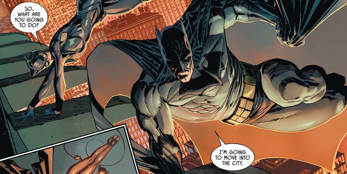 "Batman and Catwoman swing through Gotham. ""What are you going to do?"" she asks. ""I'm going to move into the city,"" he answers, in Batman #101, DC Comics (2020)."
