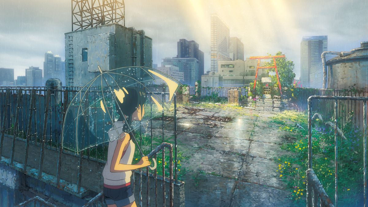 a teenage girl carrying a translucent umbrella steps off a rusty staircase into a decrepit-looking rooftop garden with a small cinderblock shrine, as the sun beams down on the torii gate above it, in the anime film Weathering With You