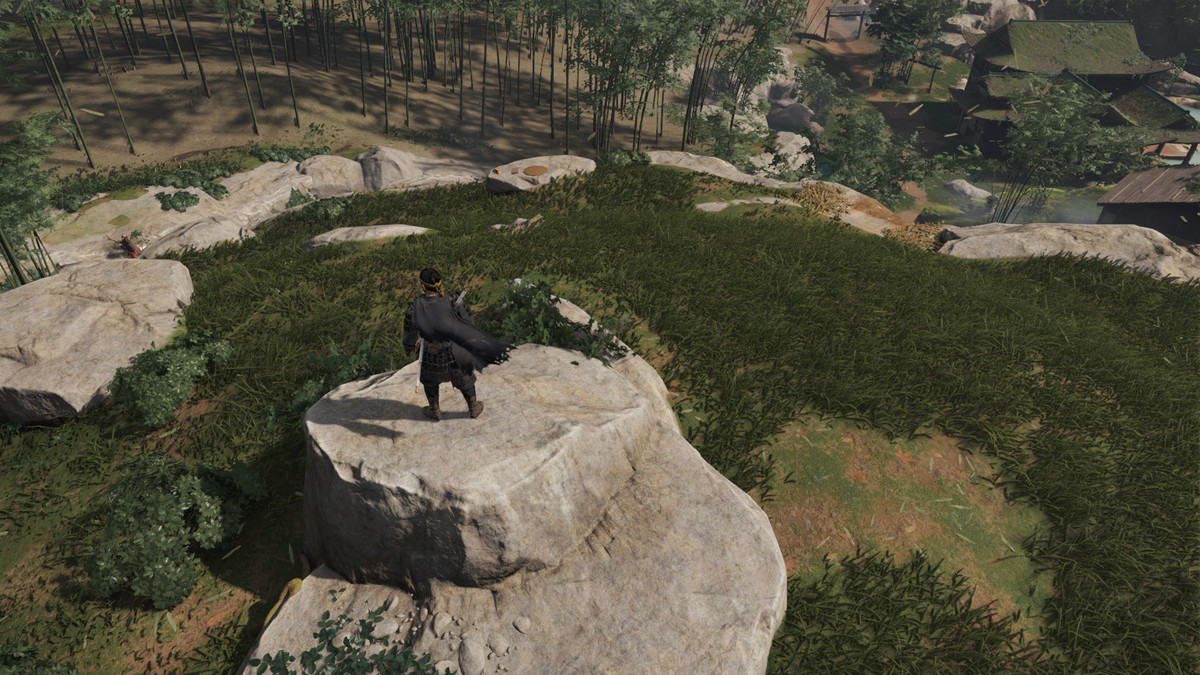 The main character of Ghost of Tsushima stands on a rock above a haiku location