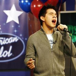 """David Archuleta of """"American Idol"""" fame sings a song for the crowd at the Fox 13 studio in Salt Lake City on Friday morning."""