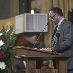 """The Rev. Jesse Jackson spoke during the funeral services for Bettie Jones, who was """"accidentally"""" shot to death by a Chicago Police officer the day after Christmas, at New Mount Pilgrim Missionary Baptist Church on Wednesday, Jan. 6, 2016."""