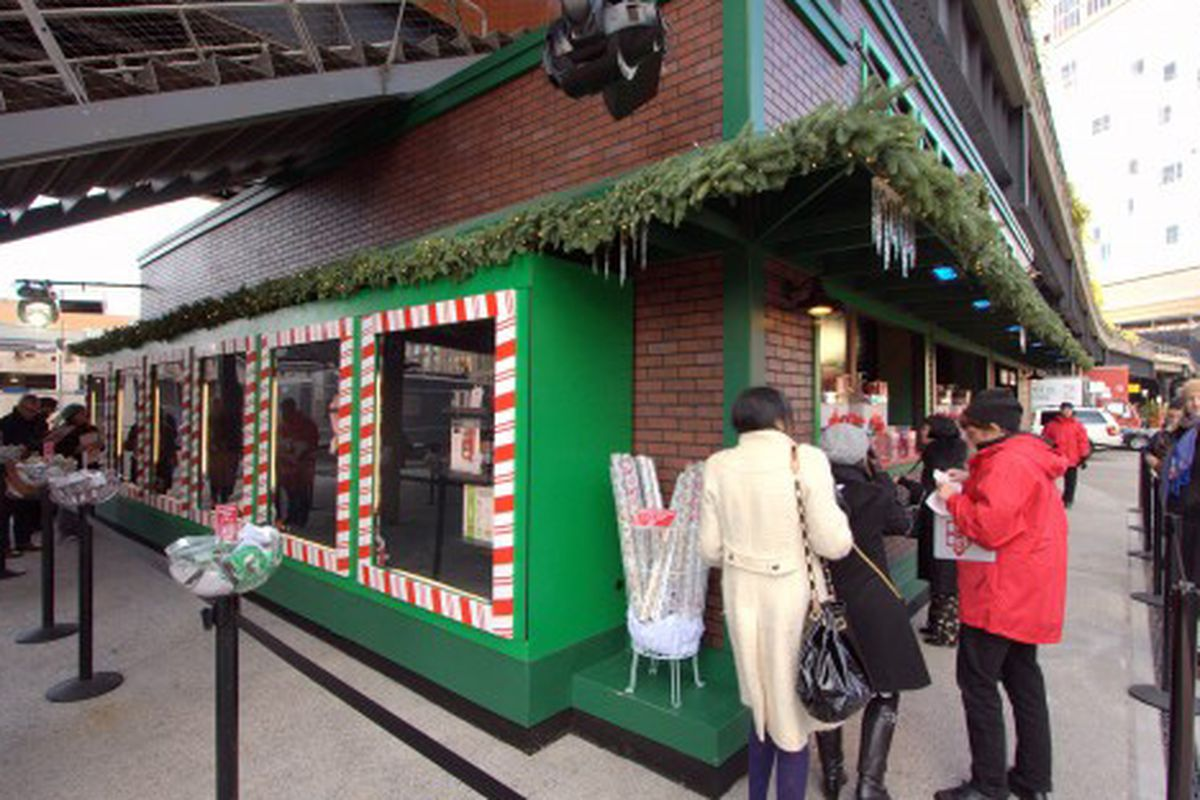 Target's gingerbread house of a pop-up under the High Line this past Christmas