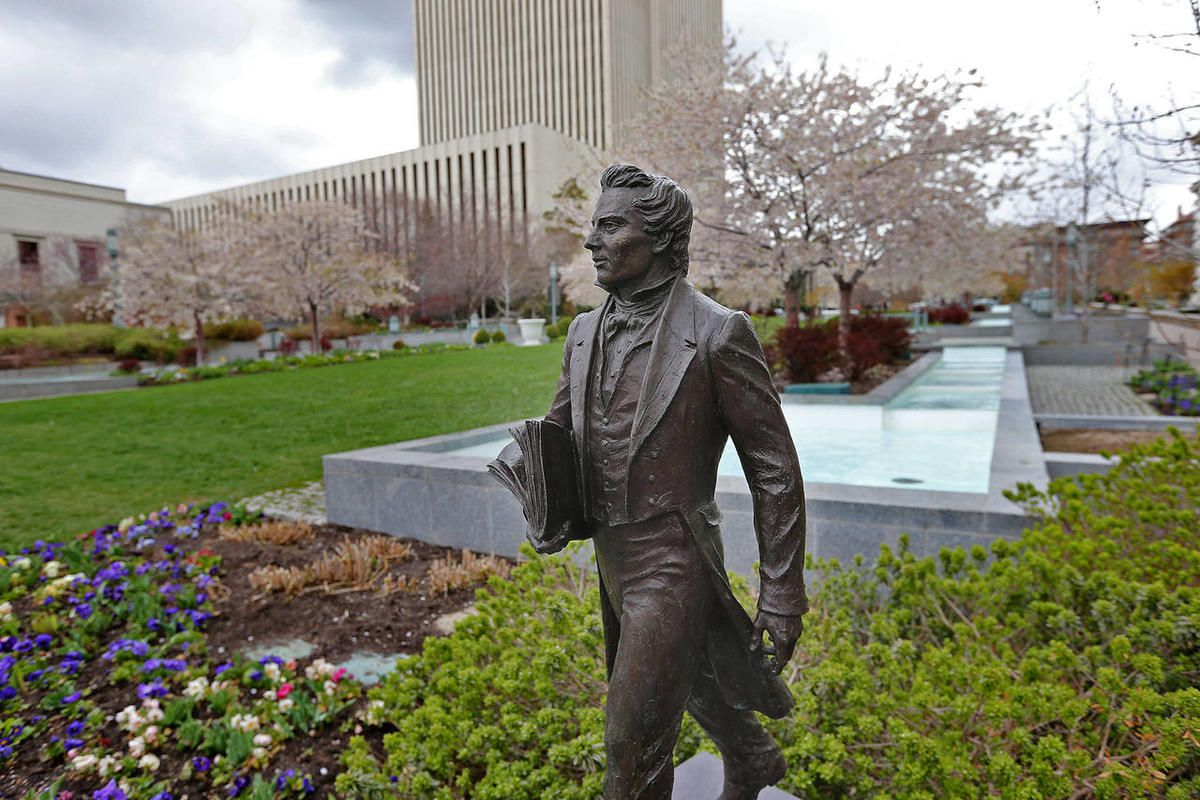 Statute of the prophet Joseph Smith during the 184th Annual General Conference of The Church of Jesus Christ of Latter-day Saints Sunday, on April 6, 2014, in Salt Lake City.