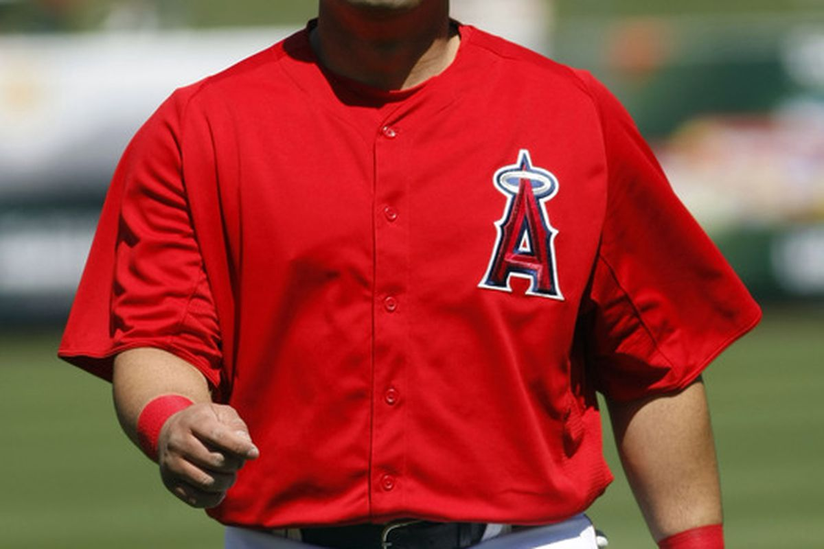 March 22, 2012; Tempe, AZ, USA; Los Angeles Angels designated hitter Kendrys Morales knows he's one bad mutha shut yo mouth!