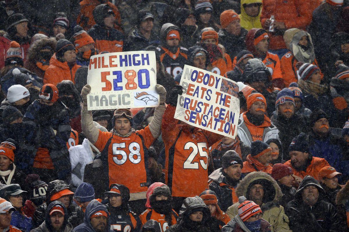 Denver Broncos versus the New England Patriots