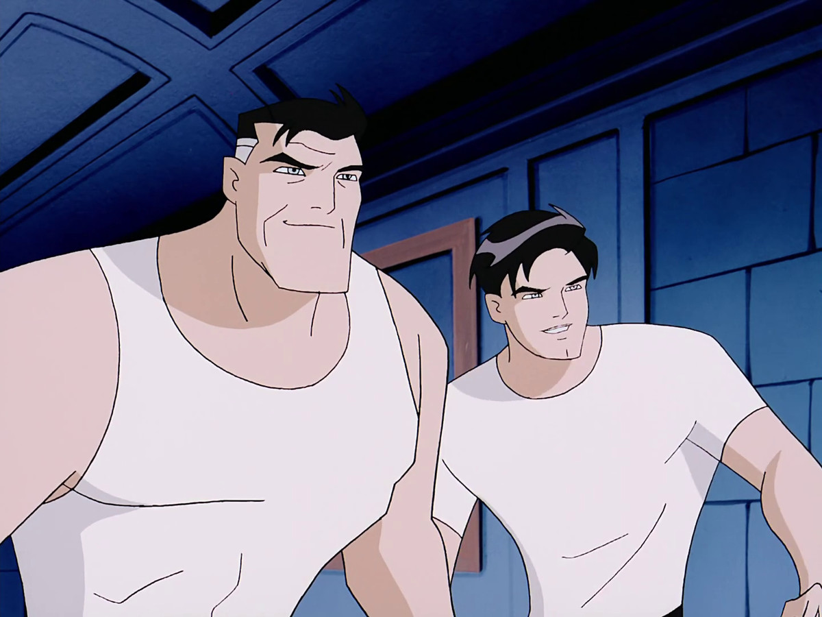 Bruce Wayne and Terry McGinnis fight side by side.