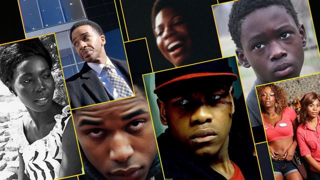 A grid featuring 7 film stills from terrific films about Black lives, in every major genre