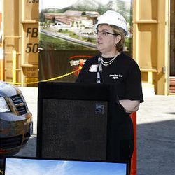 Sarah George, executive director of the Museum of Natural History, talks Wednesday about the museum's new building, the Rio Tinto Center, which will use Kennecott copper to wrap the building.